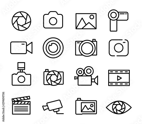 Obraz Photo and video set icons thin line. Photography icon. Photo camera icon. Diaphragm icon. Vector illustration. - fototapety do salonu