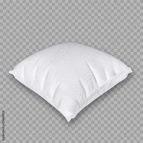 Obraz Domestic Pillow For Comfortable Sleeping Vector Copy Space. Blanket Textile Material Square Shape Orthopedic Pillow. Relaxation Accessory Interior Element For Sleep Layout Realistic 3d Illustration - fototapety do salonu