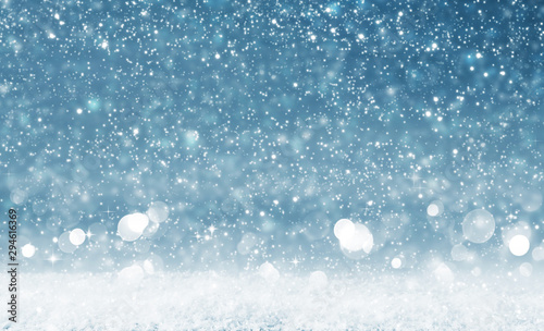 Photo sur Toile Pays d Europe Christmas background with bright lights and snowfall.