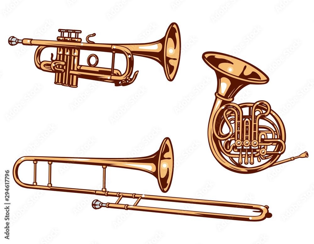 Fototapeta Trumpet,  horn and trombone. Brass set of vector illustration..