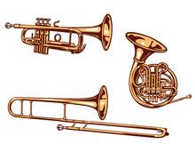 Trumpet,  Horn And Trombone. Brass Set Of Vector Illustration..