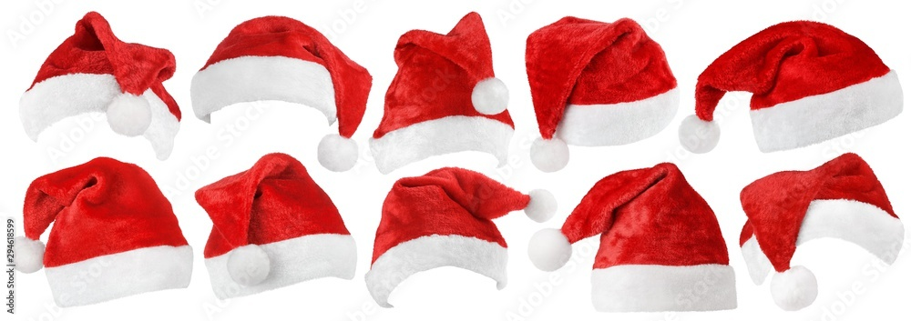 Fototapeta Set of red Christmas Santa Claus hat isolated on white background