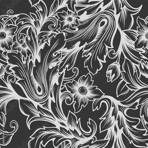 Vintage baroque monochrome seamless pattern.