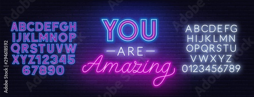 You are amazing neon lettering Wallpaper Mural