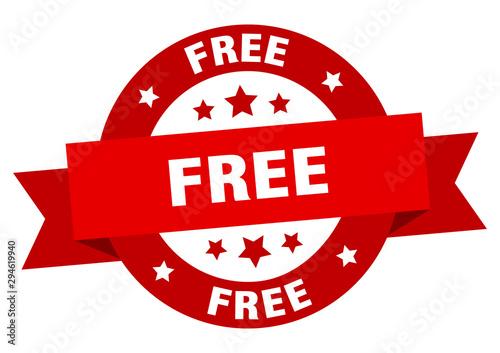 Fotomural  free ribbon. free round red sign. free