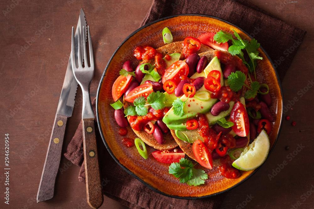 Fototapety, obrazy: mexican avocado bean sandwich with tomato chili scallion