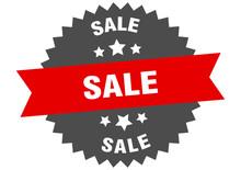 Sale Sign. Sale Red-black Circular Band Label