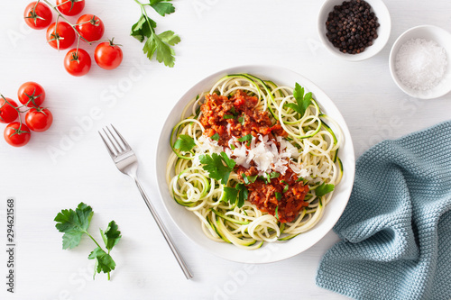 keto paleo zoodles bolognese: zucchini noodles with meat sauce and parmesan Wallpaper Mural