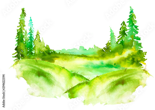 Watercolor painting, picture, landscape - forest, nature, tree. It can be used as logo, card, illustration.green forest, landscape, Drawing on white isolated background. Misty forest in haz.