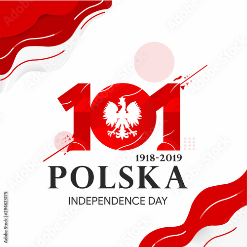 Fotomural Anniversary Logo of Poland Independence, 101th Poland independence day, happy in