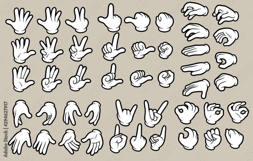 Fototapeta Cartoon white human hands in gloves gesture set. Hands show signs. Different hand positions. Isolated on gray background. Vector icon set.