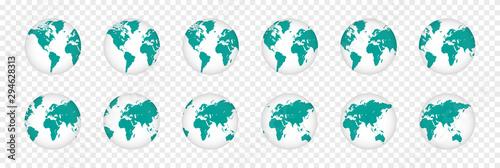 Fotografía  Set of realistic 3D planet maps. World globe illustration