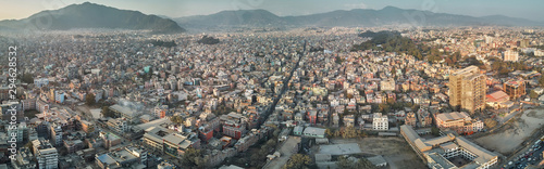 Fényképezés  Panoramic view from the drone to the capital of Nepal, Kathmandu