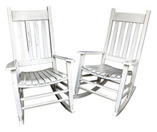 Two Nostalgic Well-used White Rocking Chairs Isolated On A White Background.