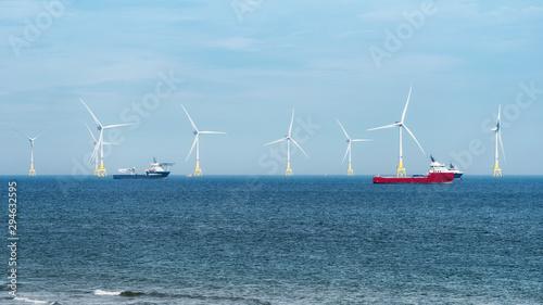 Offshore wind turbine farm on Scotland coast of Aberdeen © Federico Rostagno