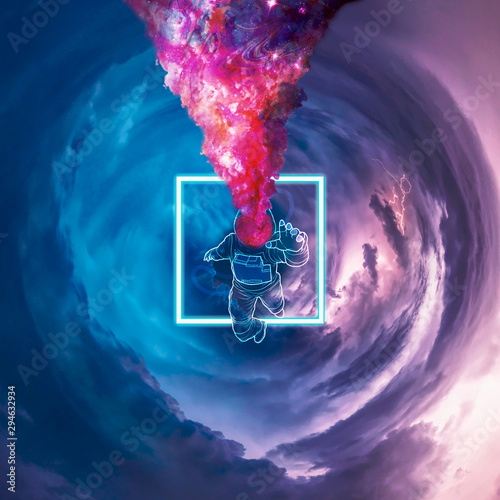 Obraz abstract background with floating astronaut  - fototapety do salonu