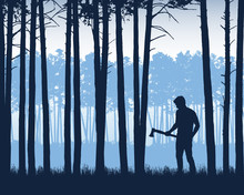 Realistic Illustration Of Landscape With Coniferous Forest With Pine Trees Under Blue Sky. Man With Ax Or Lumberjack Stands In Grass, Vector