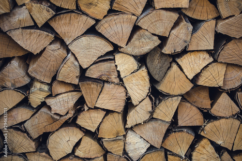 Photo sur Aluminium Texture de bois de chauffage A stock pile of timber, chopped down trees.
