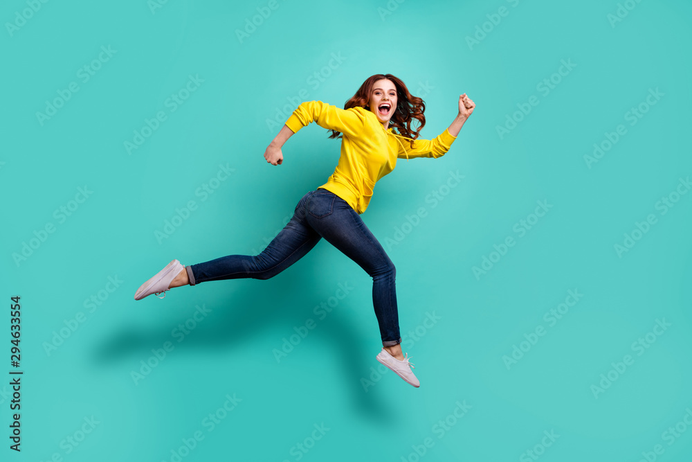 Fototapety, obrazy: Full length body size photo of running jumping casual cute nice youngster aspiring for discounted shopping mall in jeans denim isolated turquoise color vivid background