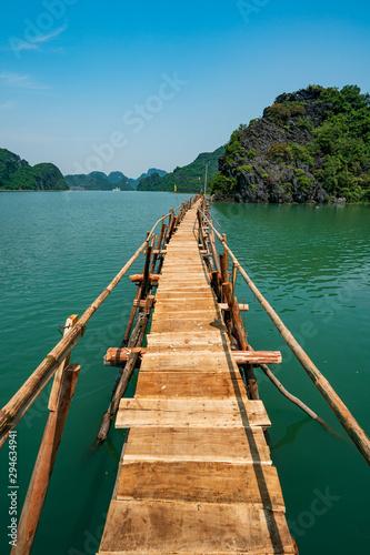obraz lub plakat Old wood bridge on the Cat Ba island, Vietnam, Halong Bay