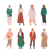 Female Muslim Daily Outfit Collection. Vector Illustration Of Young Muslim Women Wearing Trendy Clothes In Flat Cartoon Style. Isolated On White.