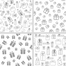 Vector Set Of Seamless Patterns With Gift Boxes. Hand Drawn, Lineart Present Boxes. Monochrome Backgrounds For Christmas, Birthday Design