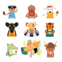 Big Set With Cute Animals Doing Summer Activities. Isolated Objects On White Background. Hand Drawn Vector Illustration. Scandinavian Style Flat Design. Concept For Children Print. Cartoon Characters.