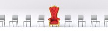 3D Illustration Of Row Of Chairs With A Vip Armchair