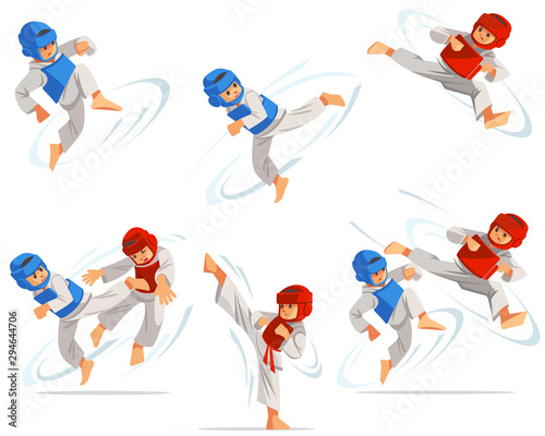 Set of taekwondo boys characters in different positions Fototapete