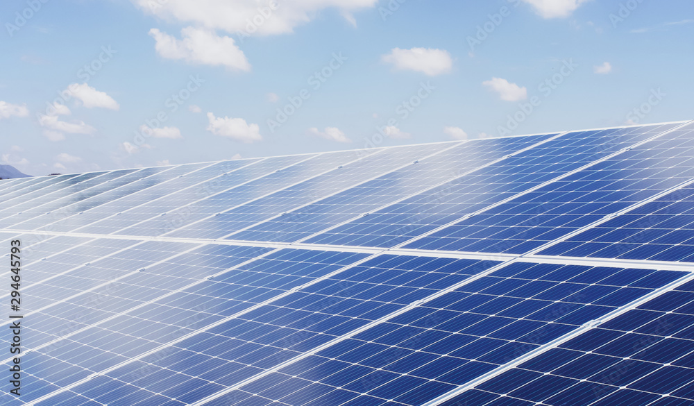 Fototapety, obrazy: eco technology solar panel with sun and blue sky background. concept clean energy in nature