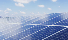 Eco Technology Solar Panel With Sun And Blue Sky Background. Concept Clean Energy In Nature