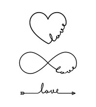 Love - Word With Infinity Symbol, Hand Drawn Heart, One Black Arrow Line. Minimalistic Drawing Of Phrase Illustration