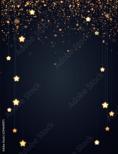 Obraz Christmas background design with yellow glowing stars and gold glitter or confetti. Dark backdrop with space for text. Vector flyer or banner template. - fototapety do salonu