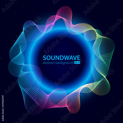 Fotografie, Obraz Soundwave vector abstract background