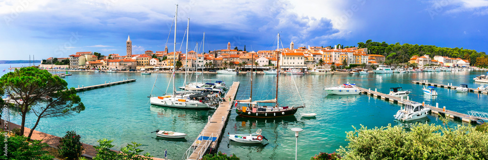 Fototapety, obrazy: Travel in Croatia- beautiful island Rab. Panoramic view of marine and old town