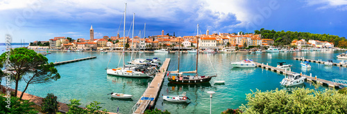 Travel in Croatia- beautiful island Rab. Panoramic view of marine and old town