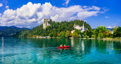 Outdoor activities and canoeing in beautiful lake Bled in Slovenia Canvas Print