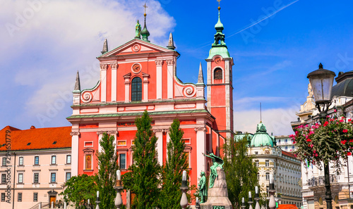 Travel and landmarks of Slovenia - beautiful Ljubljana with baroque architecture Canvas Print