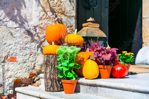 Autumn decoration with pumpkins. still life outdoor, garden ideas