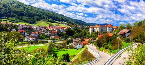 Travel and landmarks of Slovenia - beautiful Zuzemberk medieval castel and village