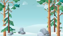 Sunny Day In Winter Forest Flat Vector Illustration