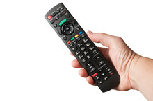 Man's Hand Hold A TV Remote Co...