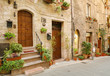 Italian old city. Typical medieval Italian street in the heart of Italy.
