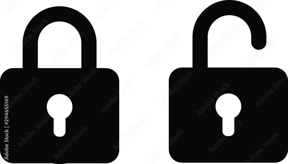 Fototapety, obrazy: illustration vector icon of close and open lock