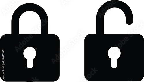 illustration vector icon of close and open lock Poster Mural XXL