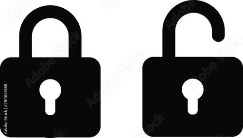Cuadros en Lienzo  illustration vector icon of close and open lock