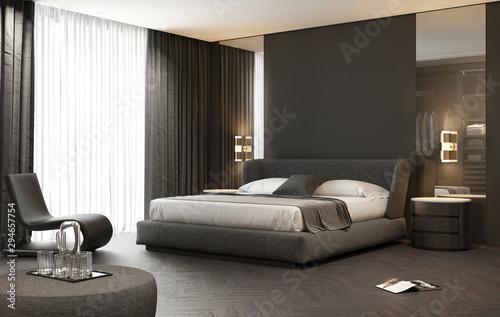 Fototapeta Dark grey contemporary luxury modern bedroom with stool and a modern carpet obraz