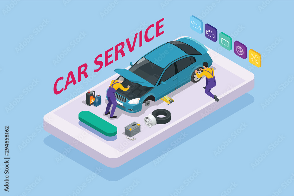 Fototapeta Isometric car repair maintenance autoservice center garage and car service concept. Technicians replace vehicle part, wheels.