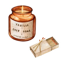 Watercolor Hand Drawn Illustration Of Red Glass Candle For Cozy Home Interior