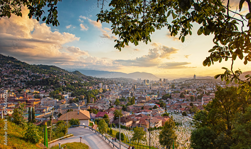 Fototapety, obrazy: Sunset view of Sarajevo, Bosnia